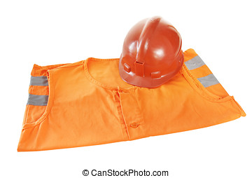 Working bright orange vest and a helmet isolated over white...