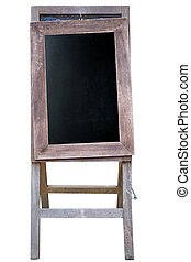 Blank art board, wooden easel, front view, isolated on white...