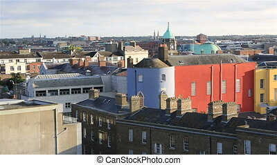 Morning view of Dublin city center. Ireland's capital.