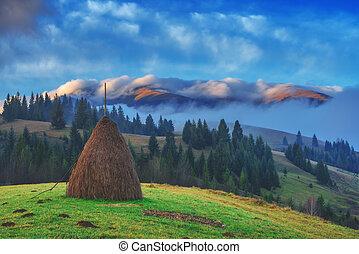 haystack - alone haystack in foggy mountain
