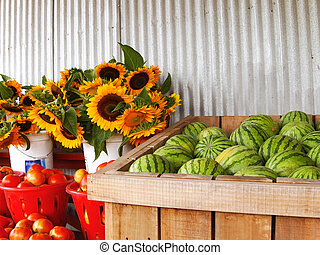 Country Produce Stand - Watermelons, sunflowers, and...