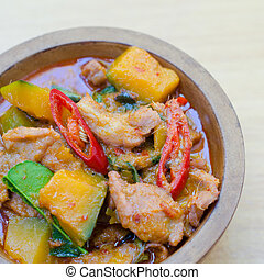 Thai food - hot curry pork with pumpkin - Thai food - hot...
