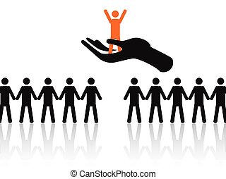selecting the best job candidate - hand holding the best...