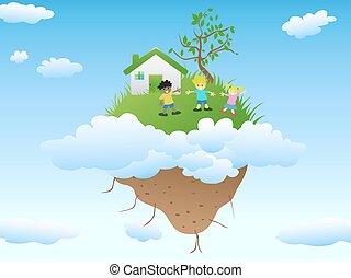 house on floating island