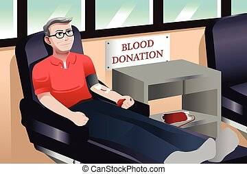 Blood donation - A vector illustration of middle aged...