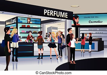 Shoppers shopping for cosmetic in a department store - A...