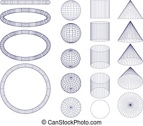 Geometrical figures on white background in differents views