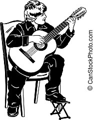 vector sketch of a boy playing music on a guitar - black and...