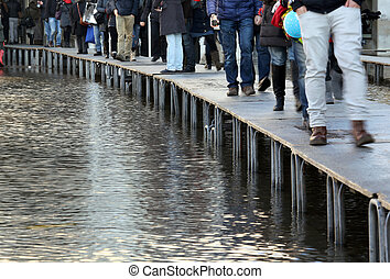 People walking?on?the?catwalk in Venice - People walking on...