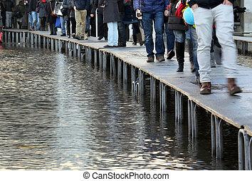 People walking?on?the?catwalk in Venice - People walking on...
