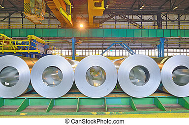 Cold rolled steel coils - rolls of steel sheet stored in...