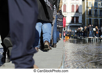 People walking on walkway in Venice - People...