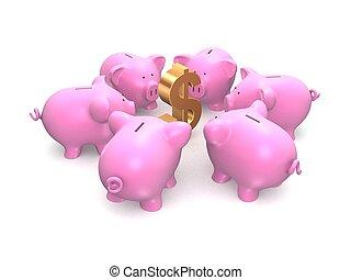 piggy banks - 3d rendered illustration of a dollar sign...