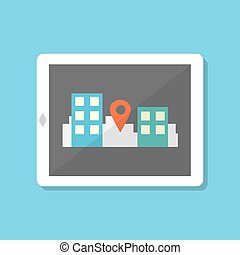 flat style tablet with gps navigation in city