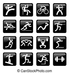 Sport black web icons buttons