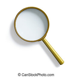 Simple vintage brass magnifying glass isolated with clipping...