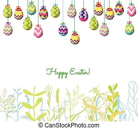 easter eggs hanging on the wire and florals background
