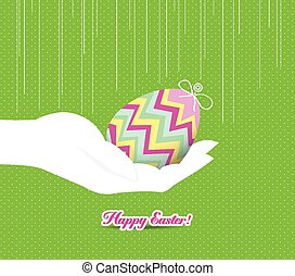 happy easter hand holding a egg