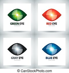 Cyber eye icon set - Cyber eye symbol icon set, Logo...