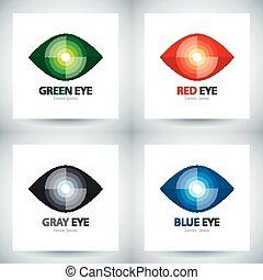 Cyber eye icon set - Cyber eye symbol icon set, Logo...