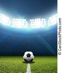 Stadium And Soccer Ball - A soccer stadium with a marked...