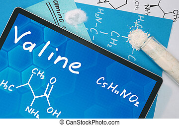 the chemical formula of valine . - Tablet with the chemical...