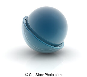 glass sphere in a semi-circle on white background,