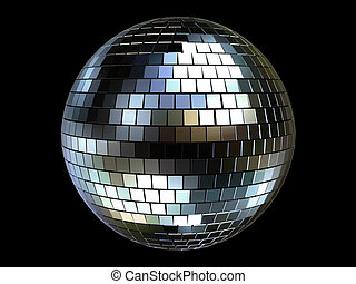 disco sphere - 3d rendered illustration of a silver disco...