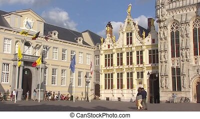 City square Burg pan historic building Brugge City Hall -...