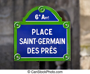 lugar, Saint-Germain, des, pres, rua, sign, ,