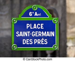 des, sinal, rua, lugar,  saint-germain,  pres