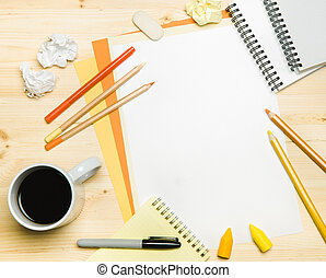 office accessories and coffee on white background