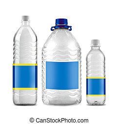 Bottled water in 3 sizes isolated