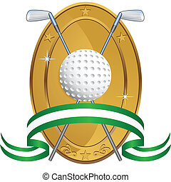 Golf Award Oval isolated on a white background image.