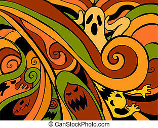 Halloween Ghosts Color illustration in a hand drawn...