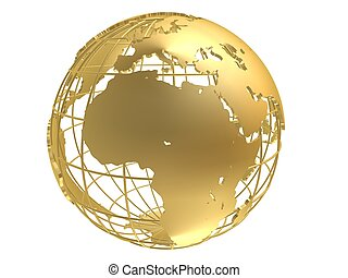 golden globe - 3d rendered illustration of a golden metal...