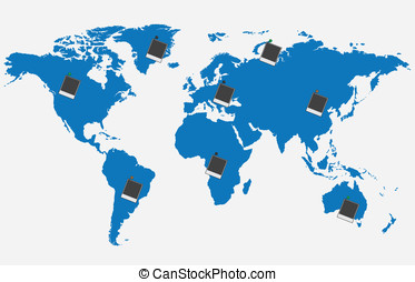 World map with pictures