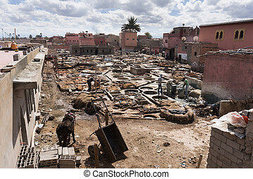 MARRAKECH, MOROCCO - FEBRUARY 22: Aerial view of the leather tan