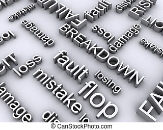 risks - 3d rendered illustration of many negatively words