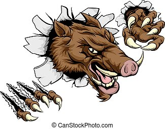 Boar mascot breaking through wall - A scary boar animal...