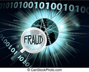 Online Fraud concept - An abstract concept binary computer...