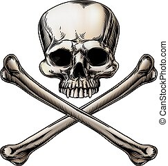 Jolly roger illustration of a skull above a pair of crossed...