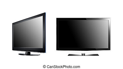 two LCD high definition flat screen TV