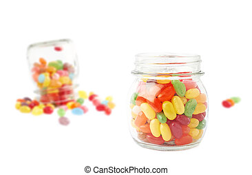 Composition of a jar and jelly beans - Composition of a...