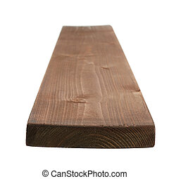 Painted pine wood board isolated - Brown paint coated pine...