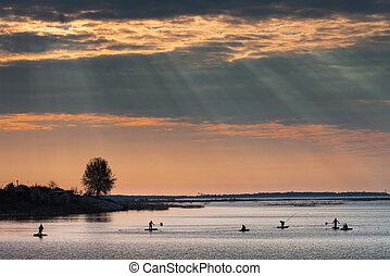 pescadores, lago, salida del sol
