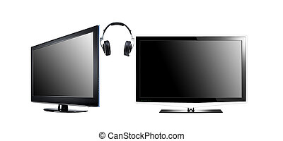 two LCD high definition flat screen TV with headphone