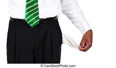 Man Pulling out Empty Pockets isolated