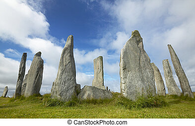 Prehistoric site with menhirs in Scotland. Callanish. Lewis...