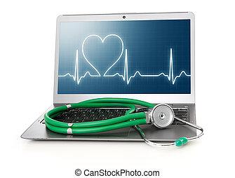 computador portatil, con, corazón, ritmo, EKG, en,...